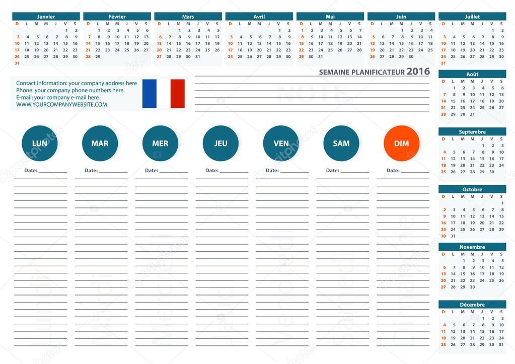 2016 Semaine Francaise Planner Calendar Template Vector Design 2