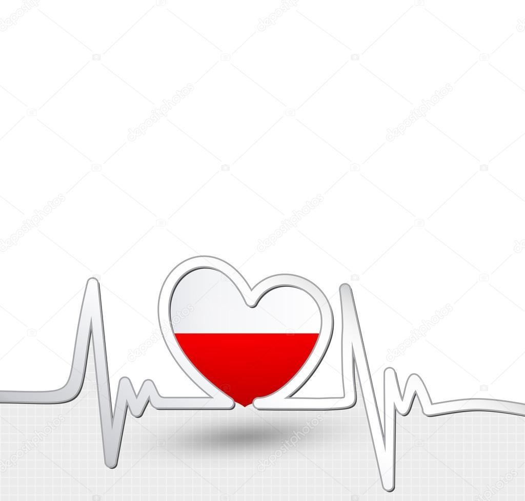 poland flag heart and heartbeat line u2014 stock vector livenart
