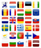 Fotografie EU Flags Flat Square Icon Set