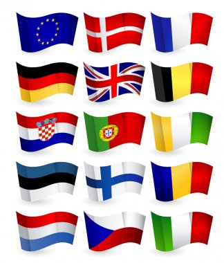 European Union country flying flat flags pack set 1.All elements are separated in editable layers clearly labeled. icon
