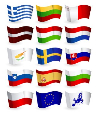 European Union country flying flags part 2.All elements are separated in editable layers clearly labeled. icon