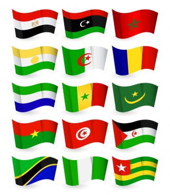 Africa country flying flat flags pack set 1