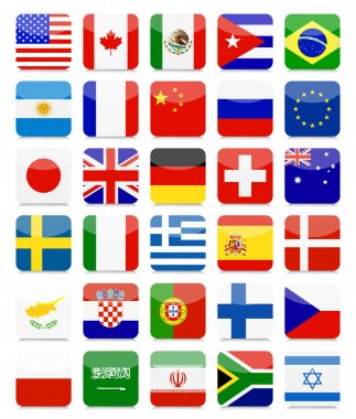World Flags Flat Square Icon Set.All elements are separated in editable layers clearly labeled. icon
