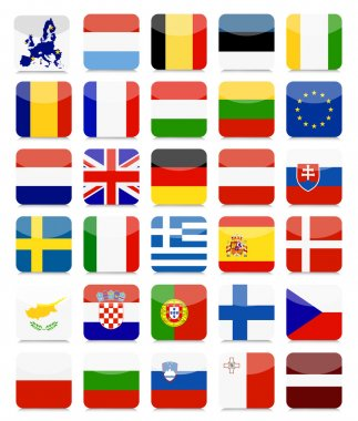 EU Flags Flat Square Icon Set.All elements are separated in editable layers clearly labeled. icon