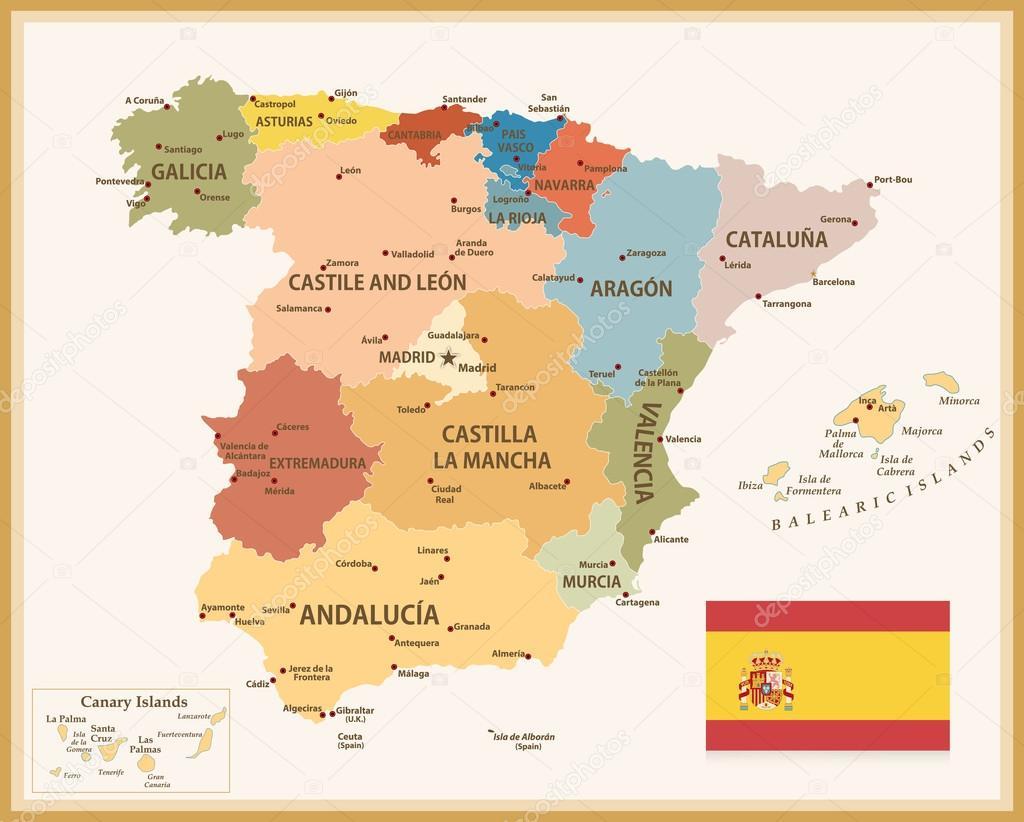 Carte Espagne Telecharger.Vintage Carte D Espagne Avec Indicateur Image Vectorielle Livenart