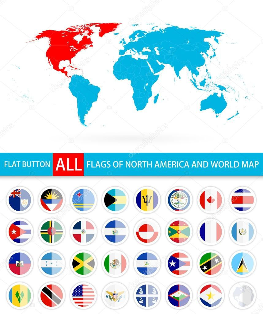 Flat round flags of north america complete set and world map stock flat round flags of north america complete set and world map flag set in alphabetical orderl elements are separated in editable layers clearly labeled gumiabroncs Choice Image