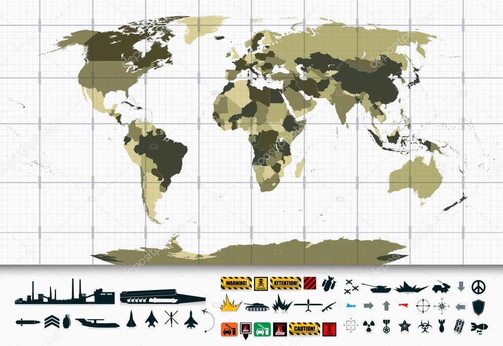 Detailed world map and military power icon set stock vector detailed world map and military power icon set stock vector gumiabroncs Image collections