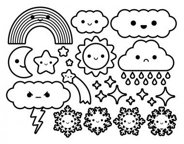 Set Of Different Cartoon Sky Icons Isolated