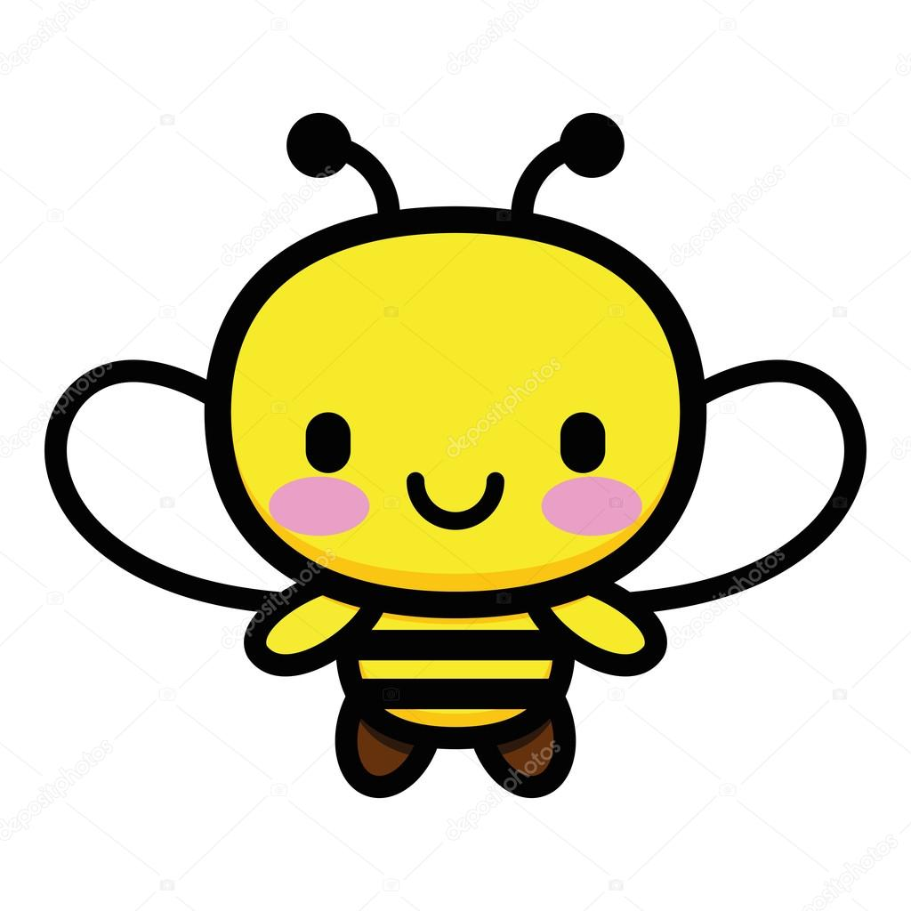 vector cute cartoon bee isolated on white background u2014 stock