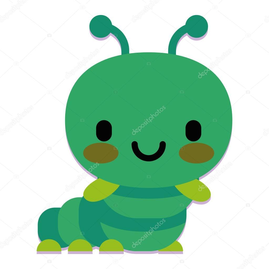 Cute Cartoon Caterpillar Isolated On White Background Stock