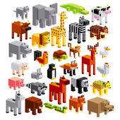 Fotografia set di diversi cartoon animali isolato