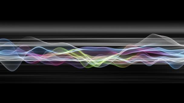 Fantastické video animace s vlnou objektu v pohybu a pruhy, smyčka Hd 1080p