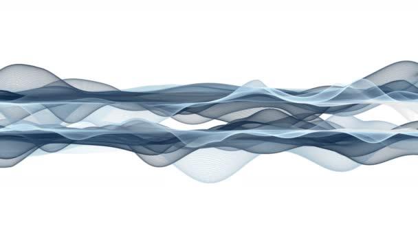 Fantastická video animace s částicovým vlnovým objektem ve zpomaleném filmu, 4096x2304 smyčka 4K