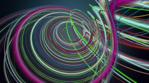 Fantastická video animace s rotujícím pruhovaným vlnovým objektem ve zpomaleném filmu, smyčka 4096x2304 4K