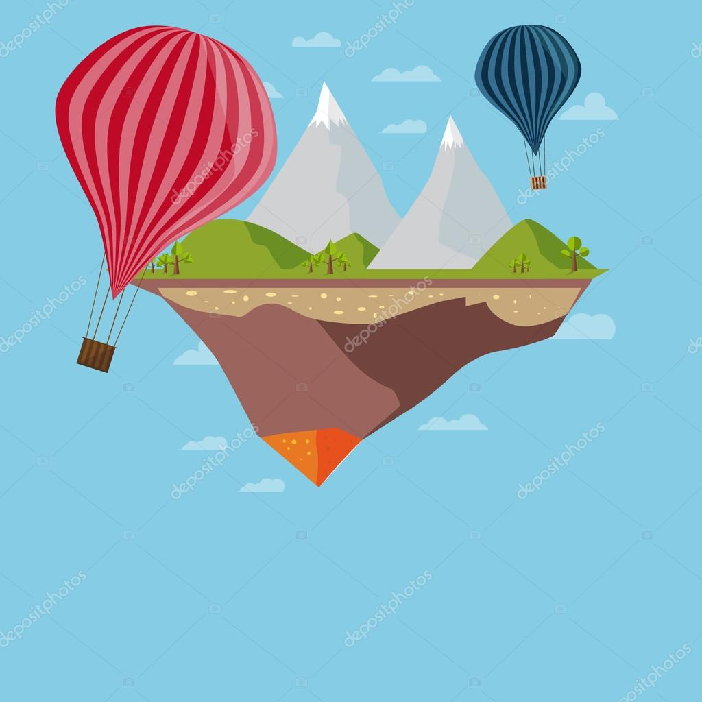 Flat Island With Mountains And Clouds, ecology concept with balloons