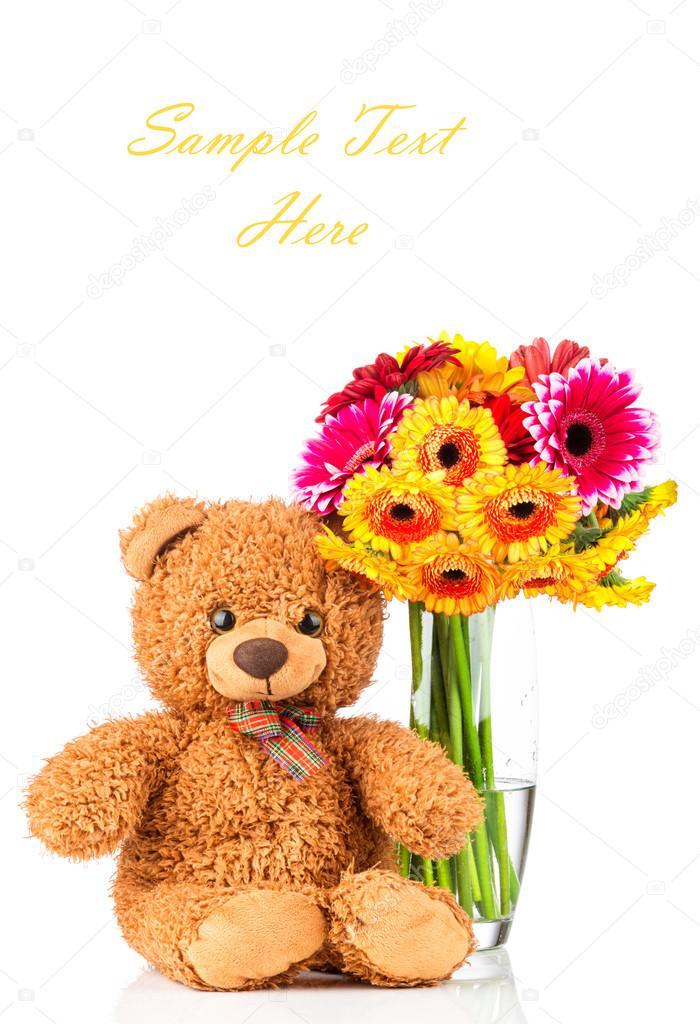 Daisy Flowers In The Vase And A Teddy Bear Stock Photo Vitalyr