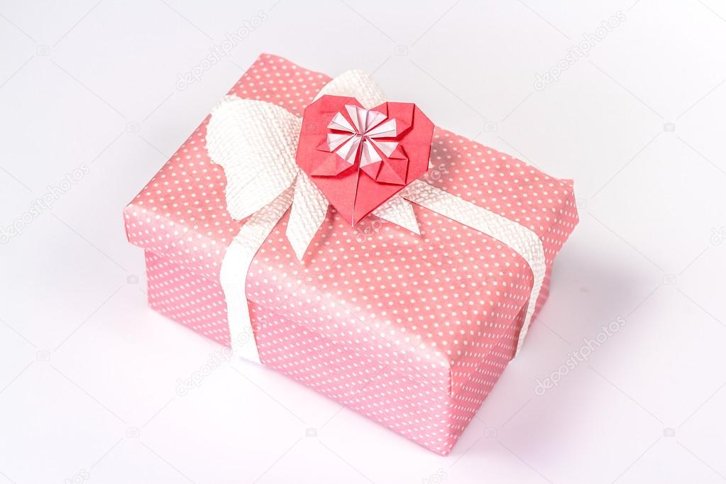 Valentines Pink Gift Box With Origami Red Heart Stock Photo