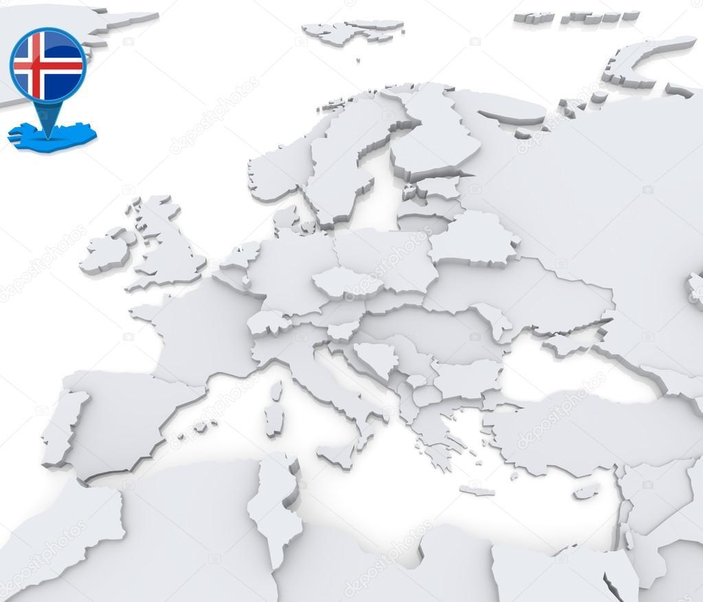 Iceland on a map of europe stock photo kerdazz7 52549523 highlighted iceland on map of europe with national flag photo by kerdazz7 gumiabroncs Choice Image