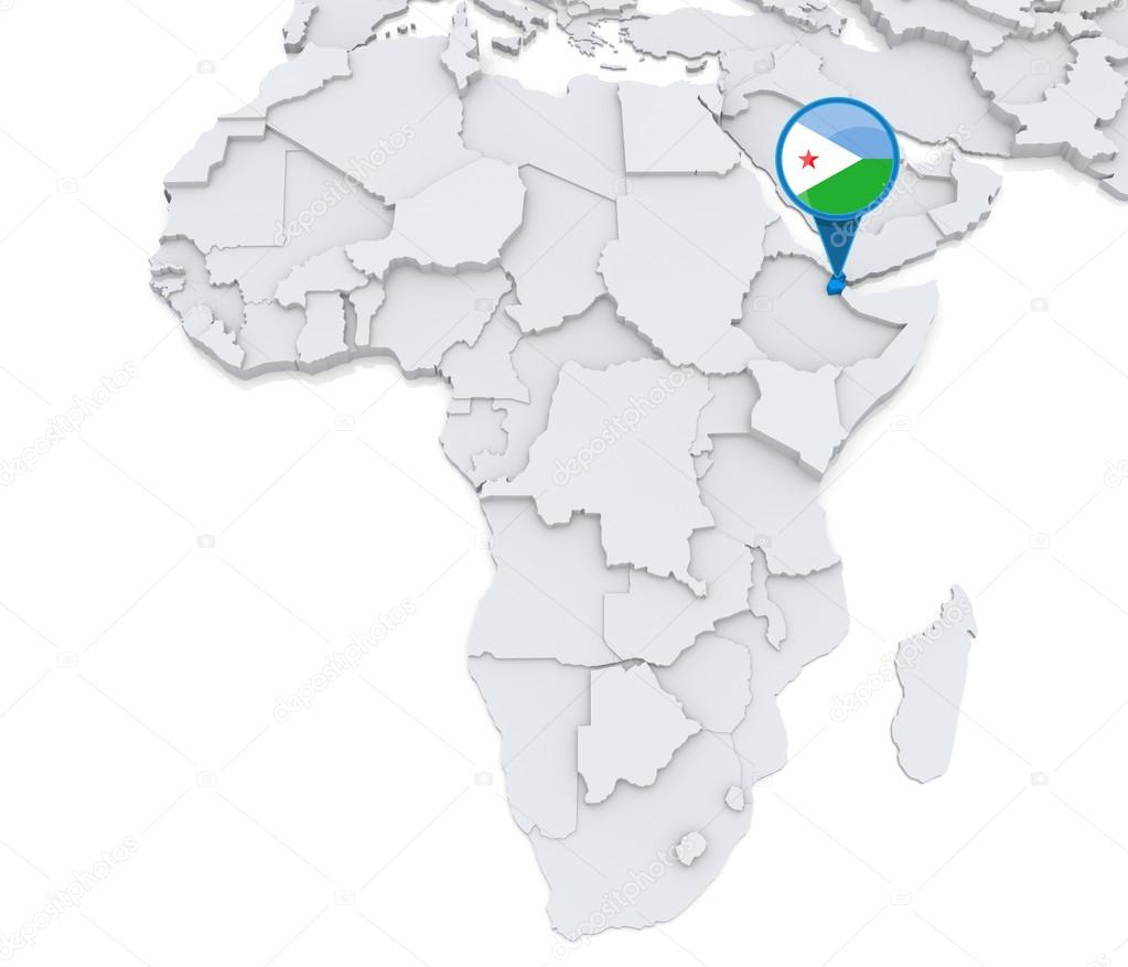 Djibouti on a map of Africa — Stock Photo © kerdazz7 #55002891