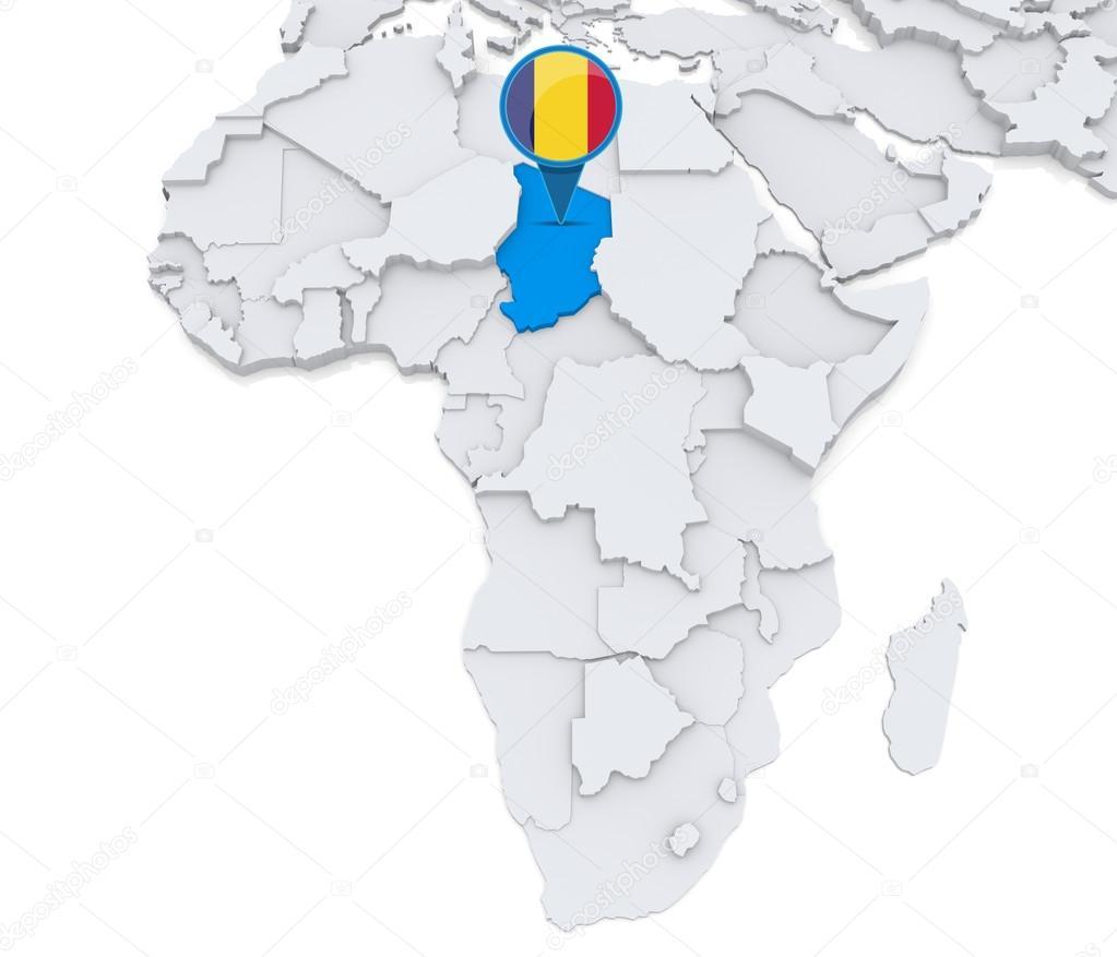 Carte De Lafrique Tchad.Tchad Sur Une Carte De L Afrique Photographie Kerdazz7
