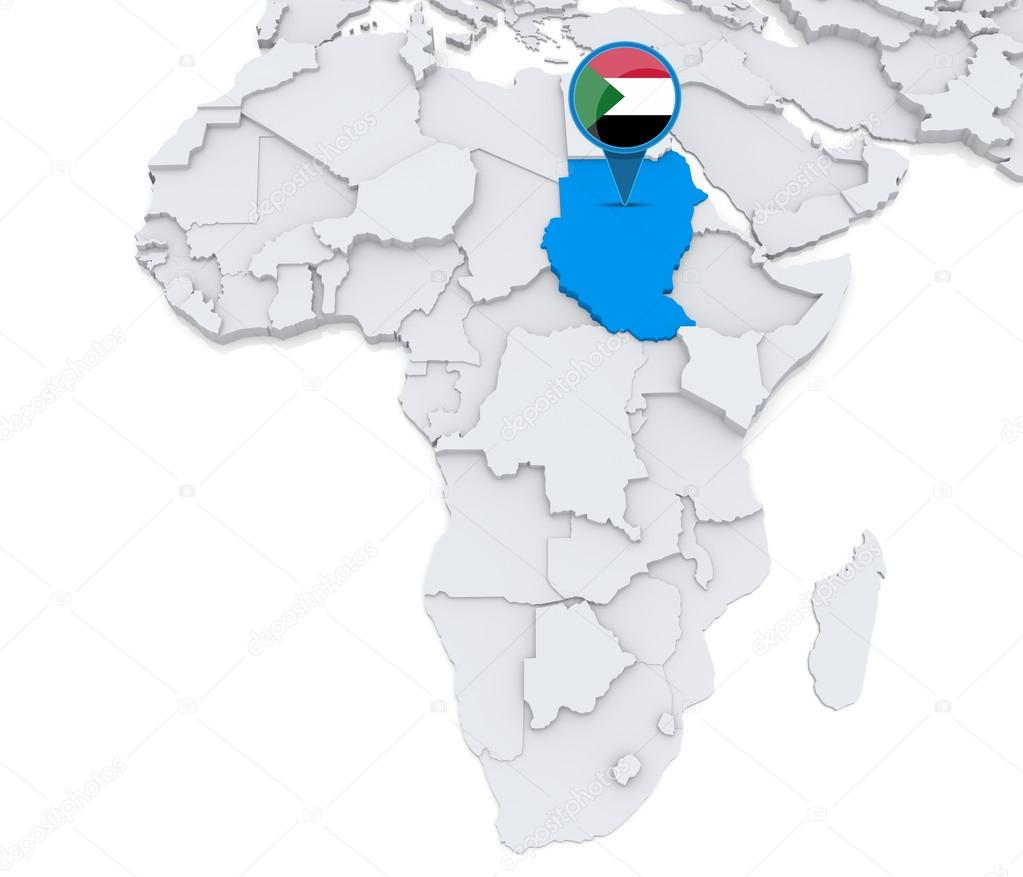 Sudan on a map of Africa — Stock Photo © kerdazz7 #55002955