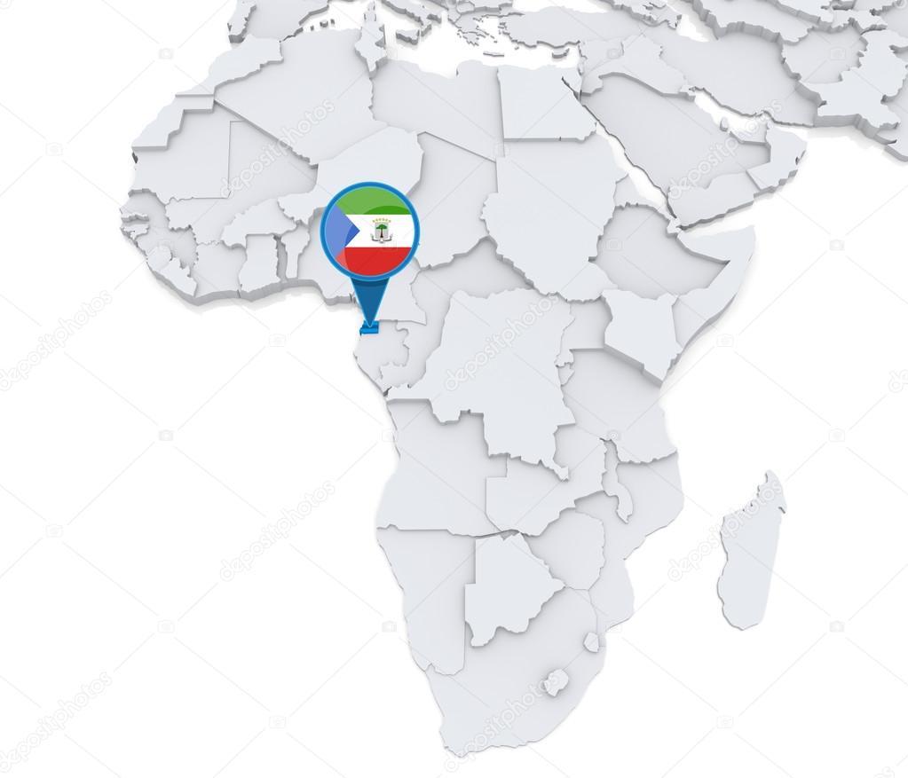 Afrika Karta Guinea.Ekvatorialguinea Pa En Karta Over Afrika Stockfotografi C Kerdazz7