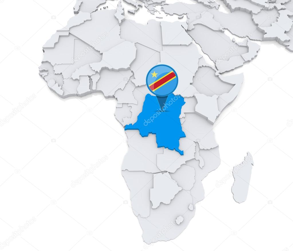 Democratic republic of Congo on a map of Africa — Stock Photo ...