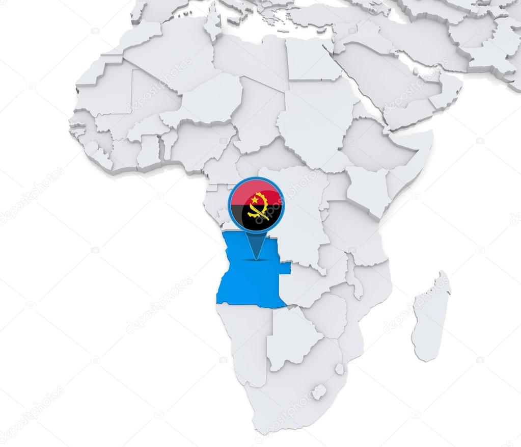 Angola on a map of Africa — Stock Photo © kerdazz7 #55003105