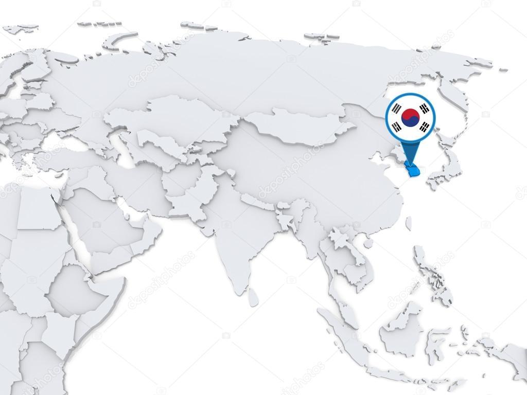 South Korea On A Map Of Asia Stock Photo C Kerdazz7 59468513