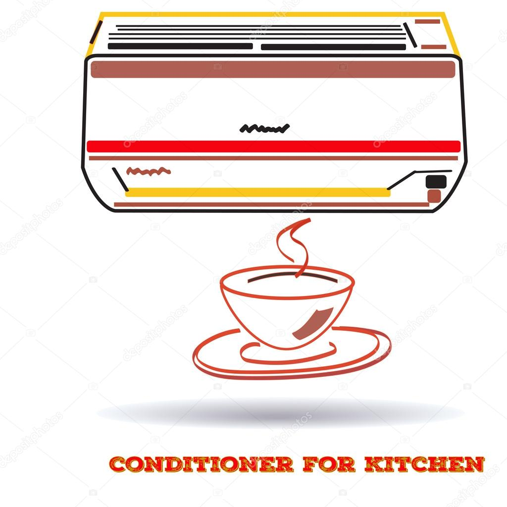 air conditioner icon for kitchen  in flat line style, vector