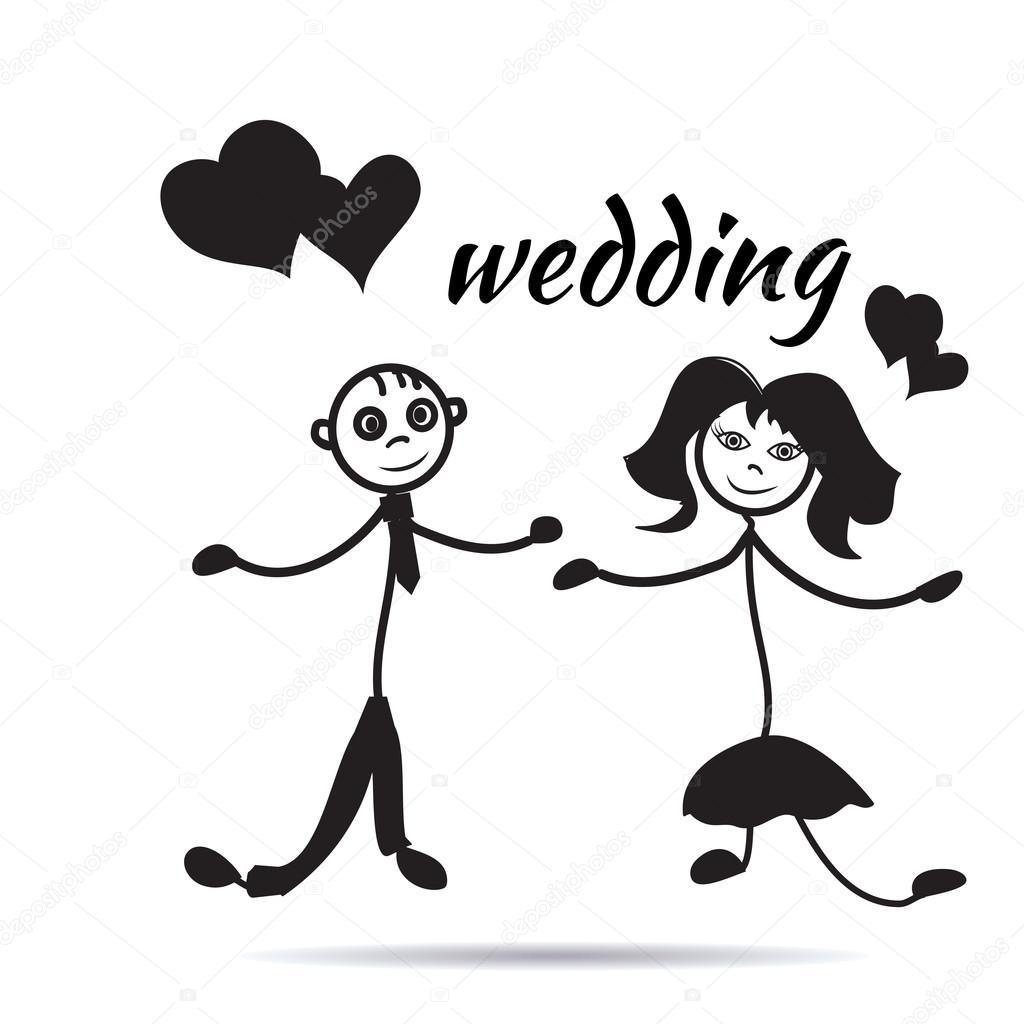 hand drawn cartoon wedding couple sticker — Stock Vector © LUIZA13 ... for Couple Sticker Line  66pct