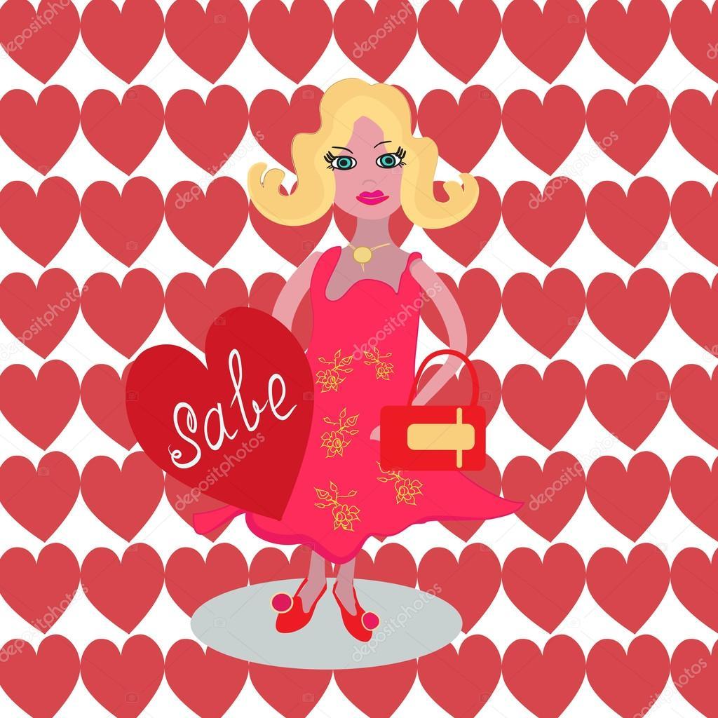 Shopping time. Blond girl go for shopping. Poster, banner