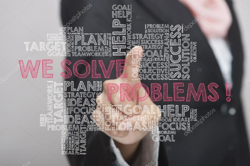 Business woman with virtual interface of We Can Solve Problems w