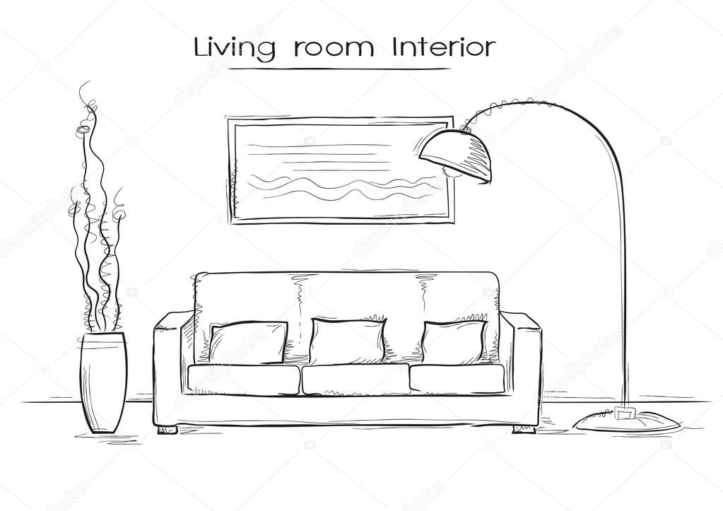 Schetsmatig illustratie van woonkamer interieur. Vector hand tekenen ...