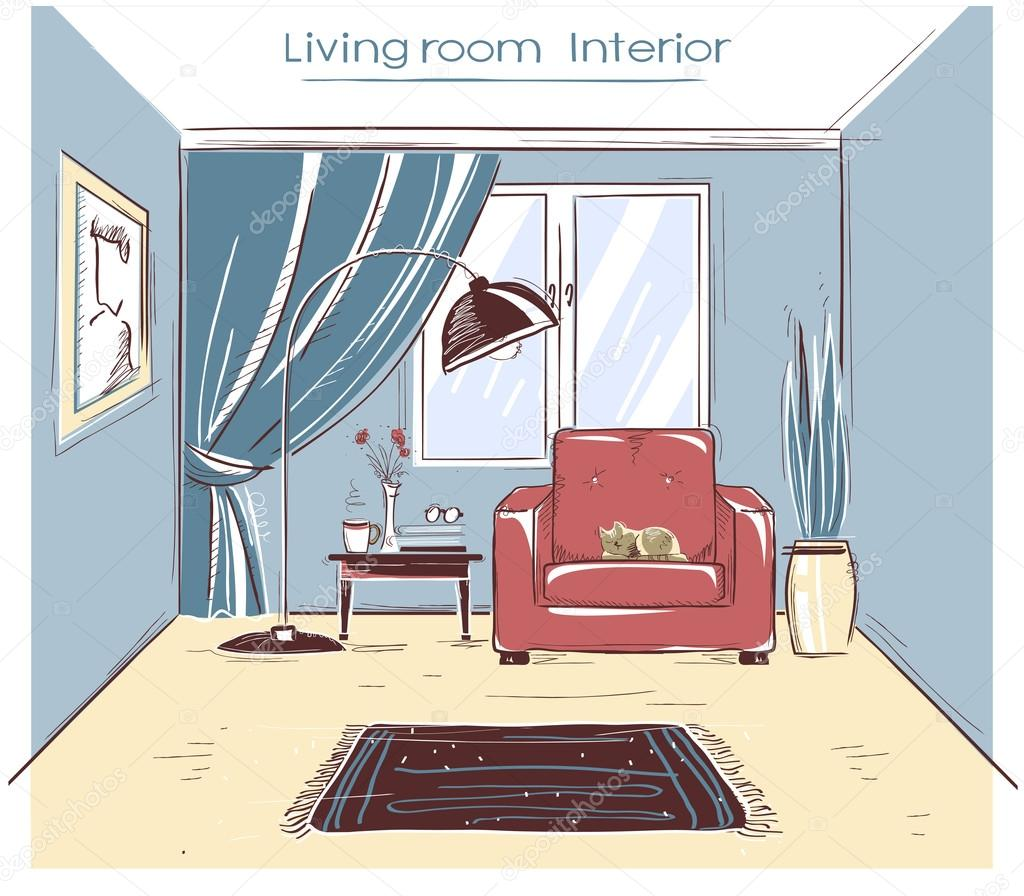 Interior Sketchy Color Illustration Of Living Room.Vector Hand Drawing  Modern Home Isolated On White U2014 Vector By NPetrushka