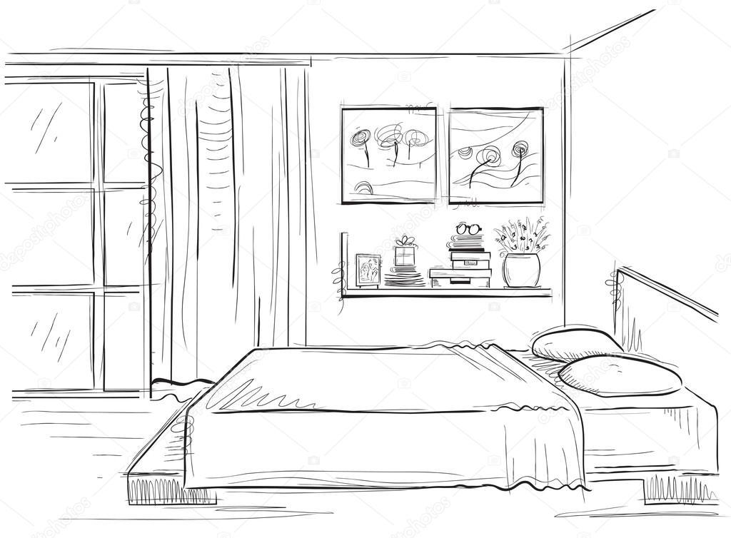Interior de dormitorio mano de vector dibujo ilustraci n - Habitacion para colorear ...