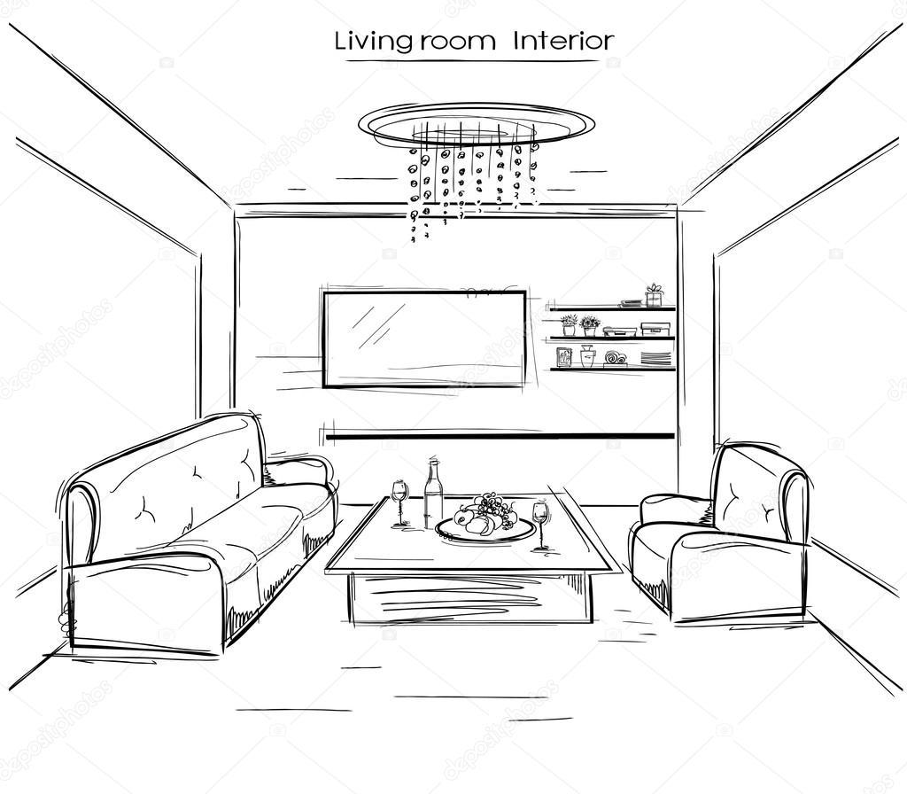 Interno del salone disegno della mano nera di vettore for Disegno interno casa