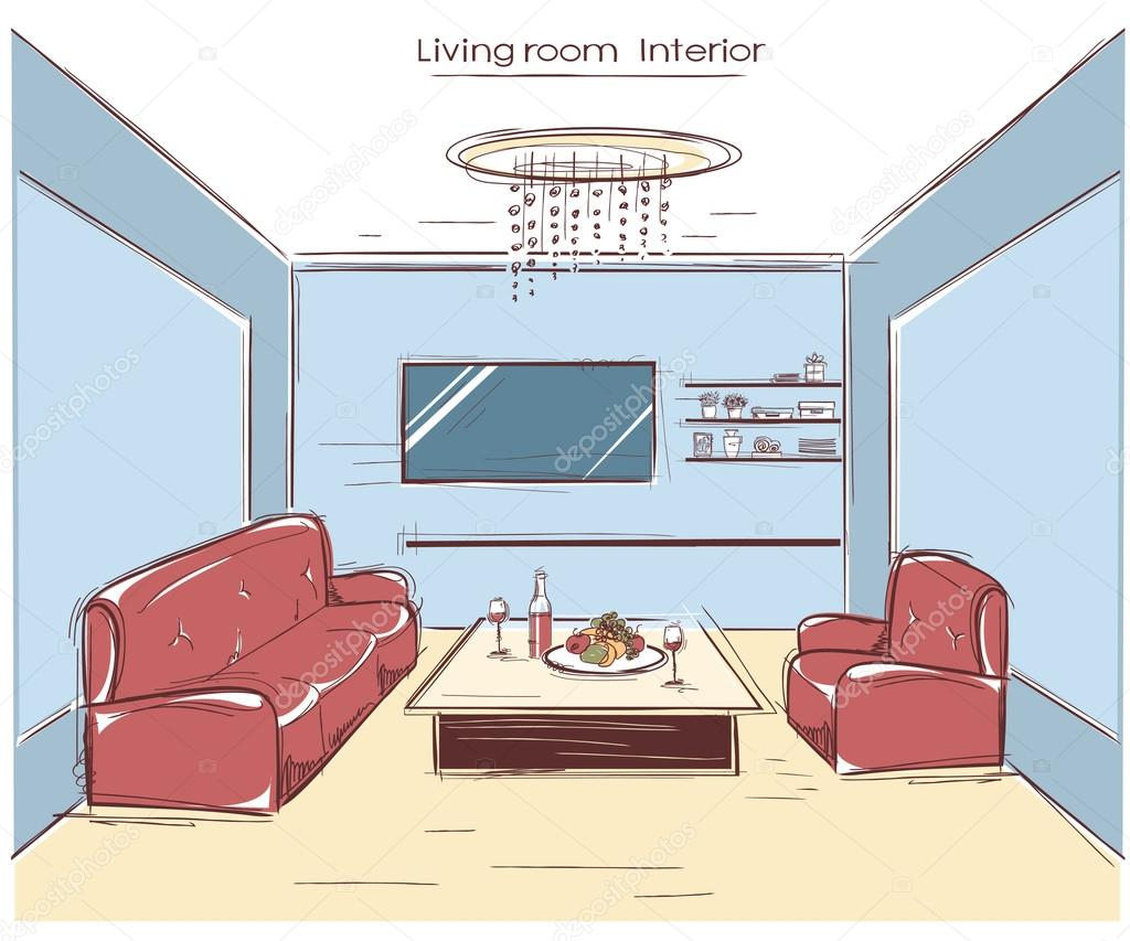 salon int rieur main de couleur vector illustration de. Black Bedroom Furniture Sets. Home Design Ideas