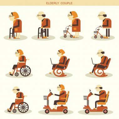 Elderly people and Medical hospital disabled equipments.