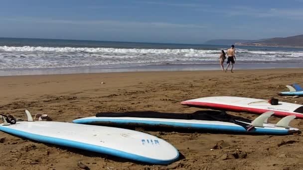 Surfboards on atlantic seaside