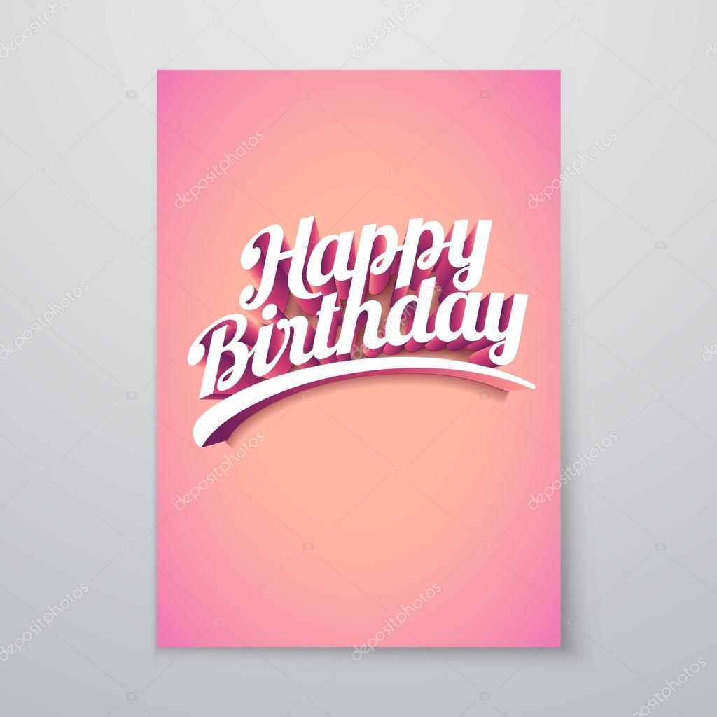 Poster design 3d - Happy Birthday Vector Custom 3d Hand Lettering Typographic Poster Design Vector By Sgursozlu