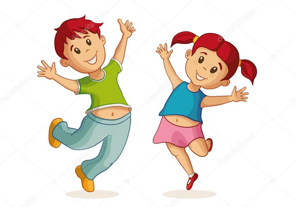 Pequeña Ilustración De Niño Y Niña Feliz