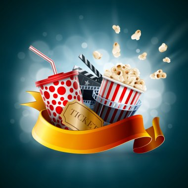 Popcorn box, disposable cup for beverages with straw, film strip, clapper board and ticket. Cinema Poster Design Template. Detailed vector illustration. EPS10 file. stock vector