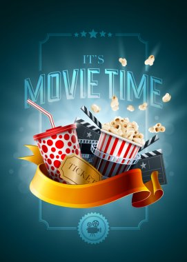 Movie concept poster design template. Detailed vector illustration. stock vector