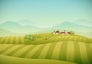 Vector illustration of little village landscape with fields. stock vector
