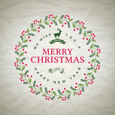 Christmas Wreath on Wrinkled Paper