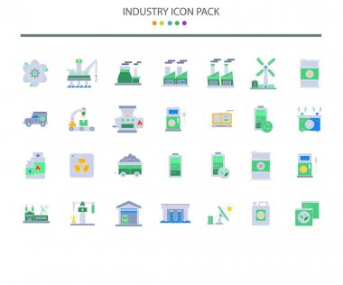 Industry icon set in flat color style, 28 icon in pack icon
