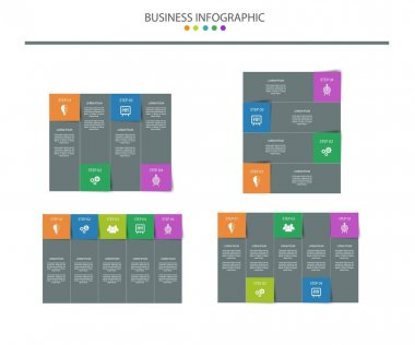 Infographic template design pack, 4 elements, eps 10 format icon