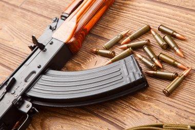 Kalashnikov assault rifles with ammunition