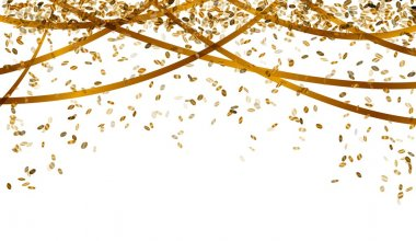 Falling oval confetti and ribbons with gold color clip art vector